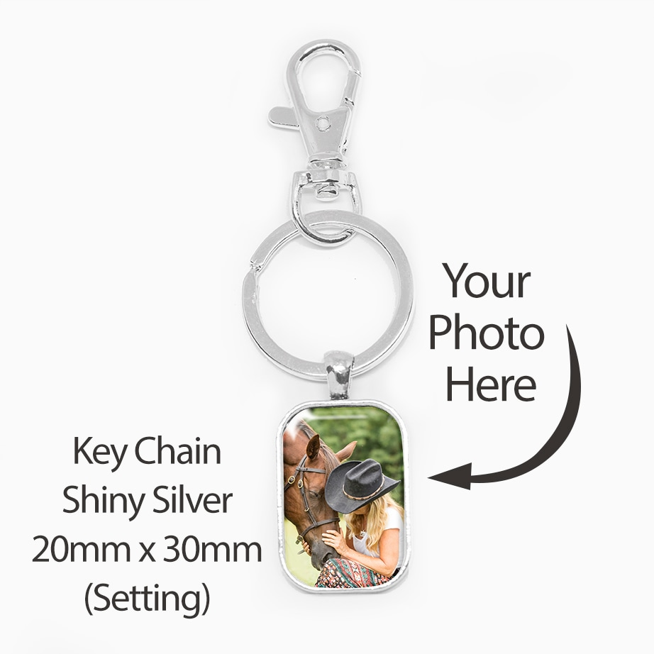 20X30mm Rect Silver KeyChain