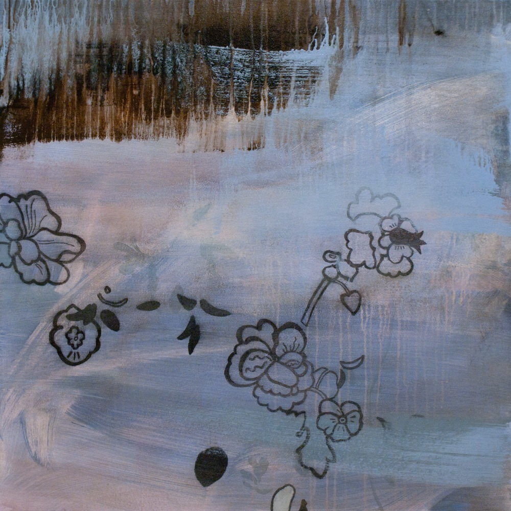 Moonstorm English Rose Right Panel 36x36 acrylic and charcoal on canvas 2012 JAAP