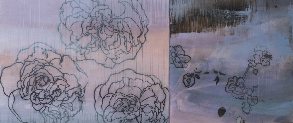 Moonstorm English  Rose 36x84acrylic and charcoal on canvas 2012 JAAP