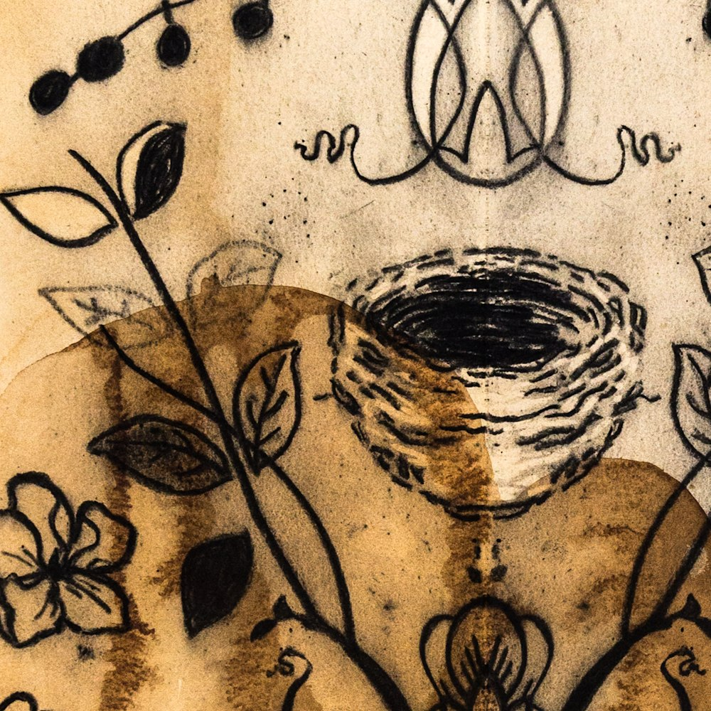 Nest with Cherry Blossoms 25x21  charcoal on tea stained paper 2020 JAAP Detail 1
