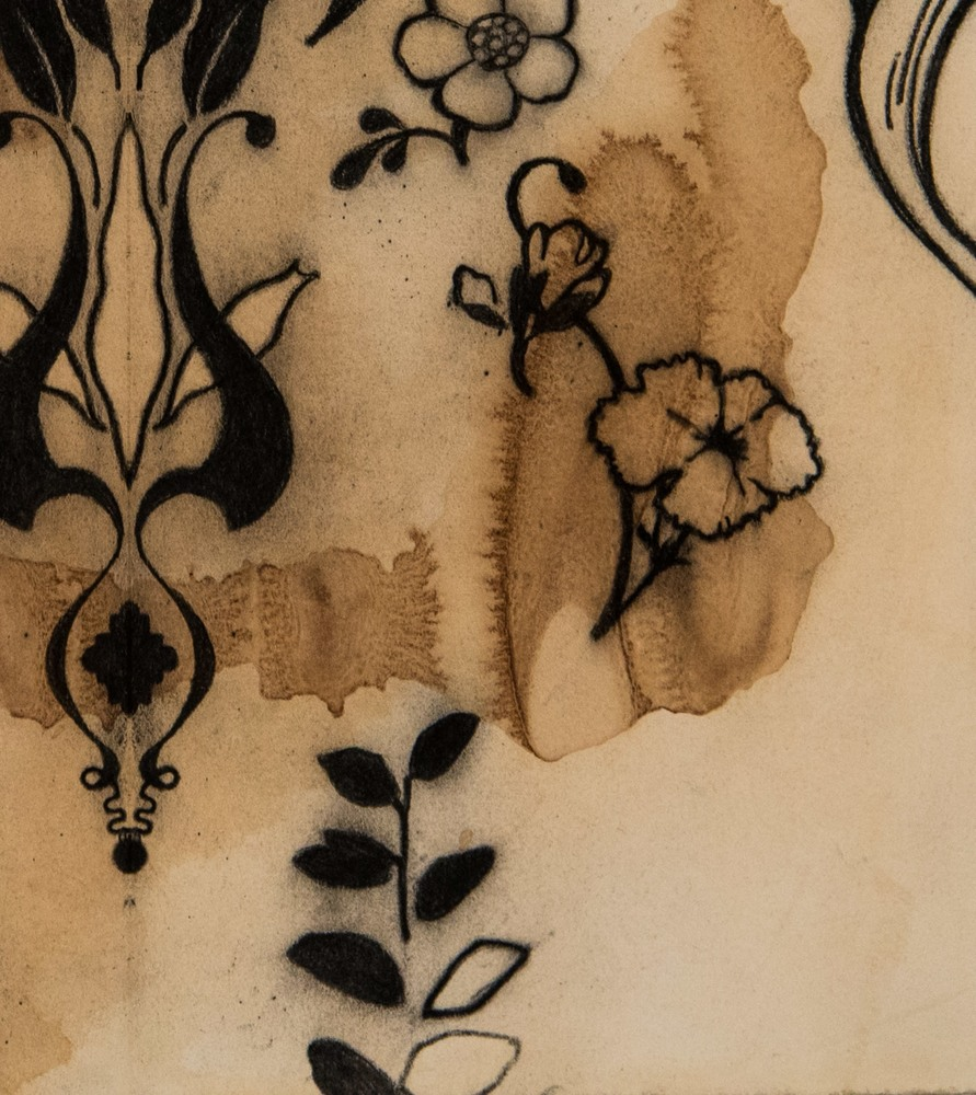 View to a Garden of All Flowers 30x22  charcoal on tea stained paper 2020 JAAP Detail 2