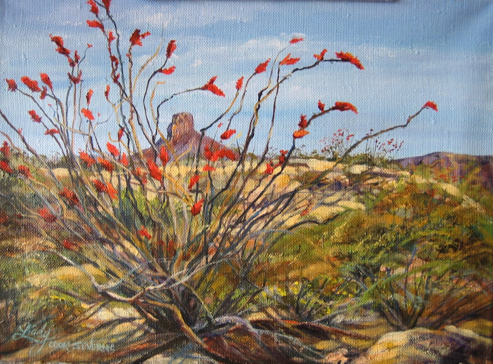 Ocotillo at San Jacinto Peak oil 8x10