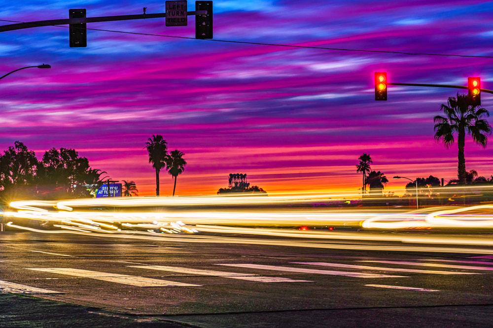 Normal Street, University Heights Cars Passing Sunset Light Streaks