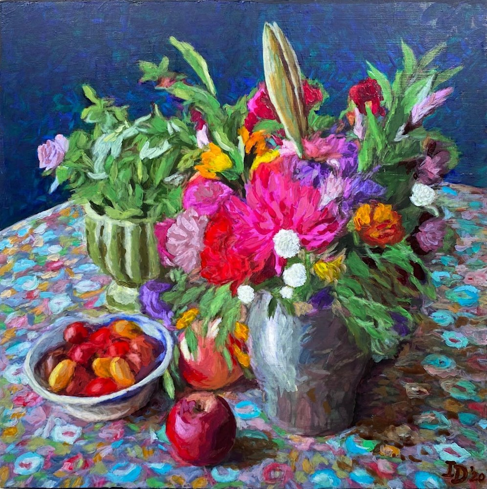 Inna Dzhanibekova 15 Still Life With Flowers in Pewter Jar rev