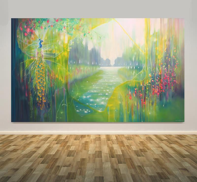 1430 peacocks river wall art S