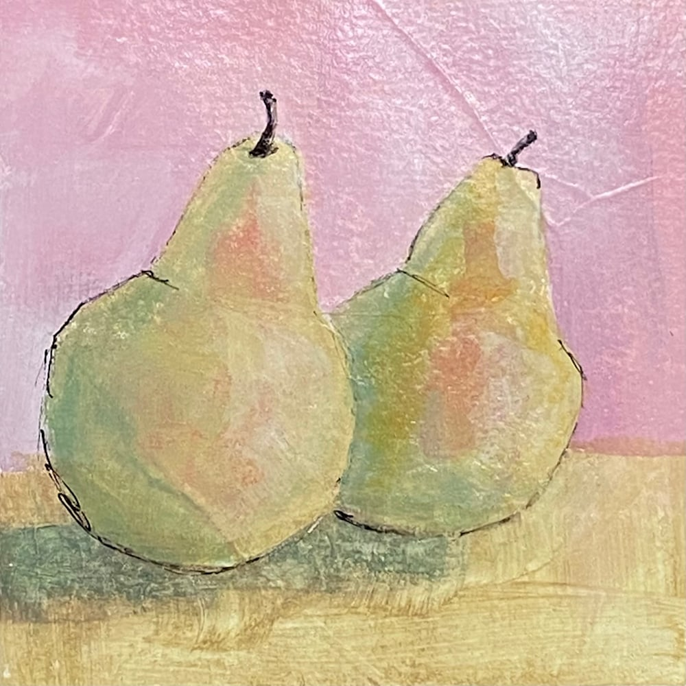 Green Pears on Pink