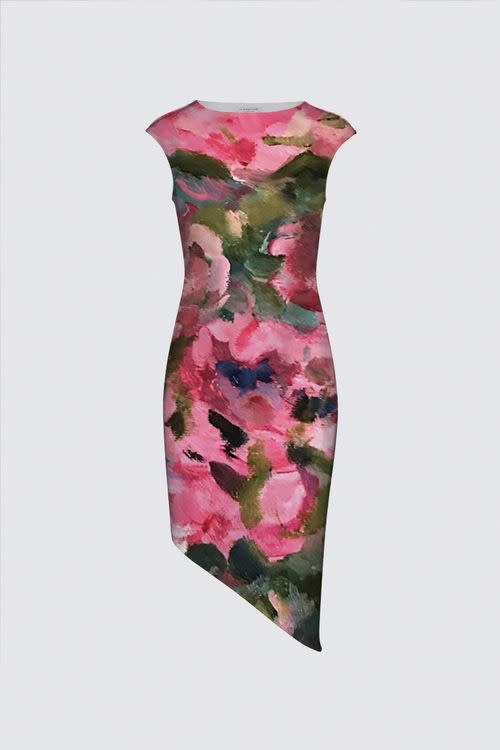 Lady in Bloom FRONT Felicia Asymmetric Dress designed by Artist