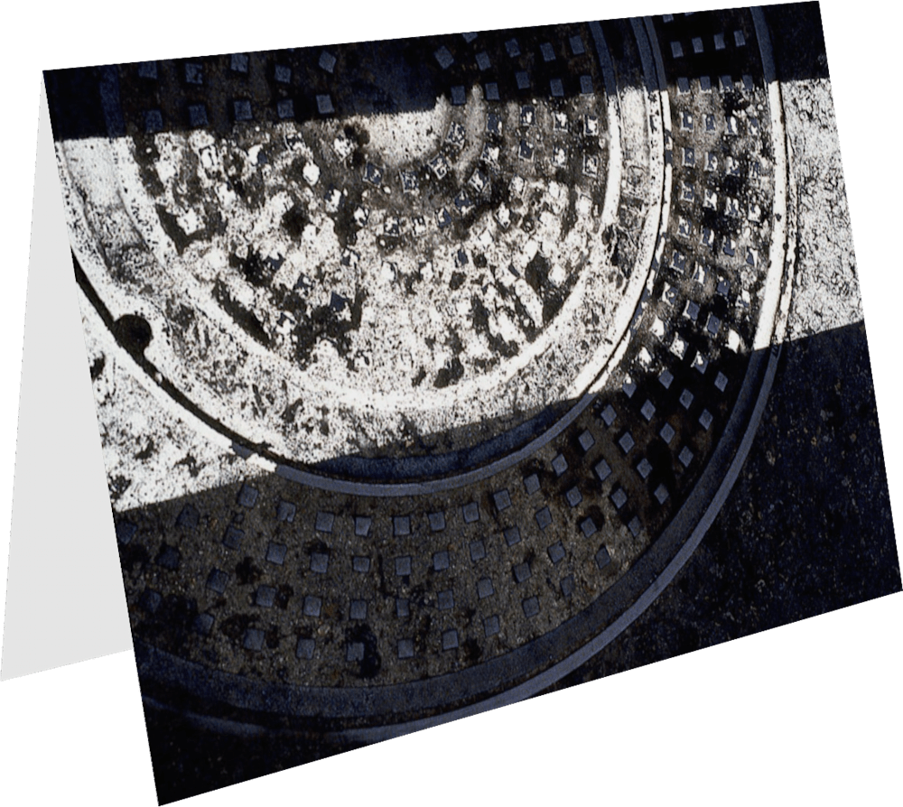 CLOSER SD MANHOLE SD140 abstract photography Sherry Mills PRINT 2 GREETING CARD 1