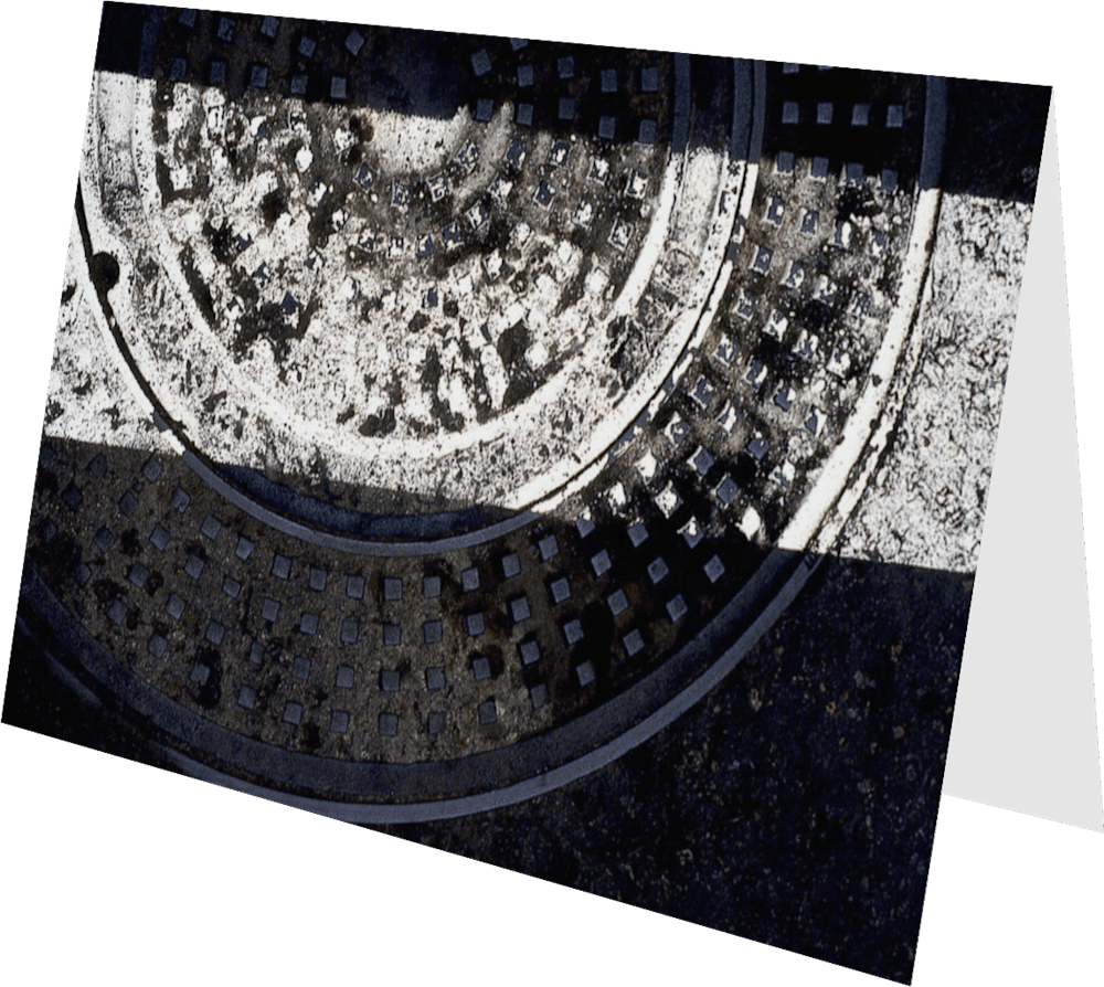 CLOSER SD MANHOLE SD140 abstract photography Sherry Mills PRINT 2 GREETING CARD 2