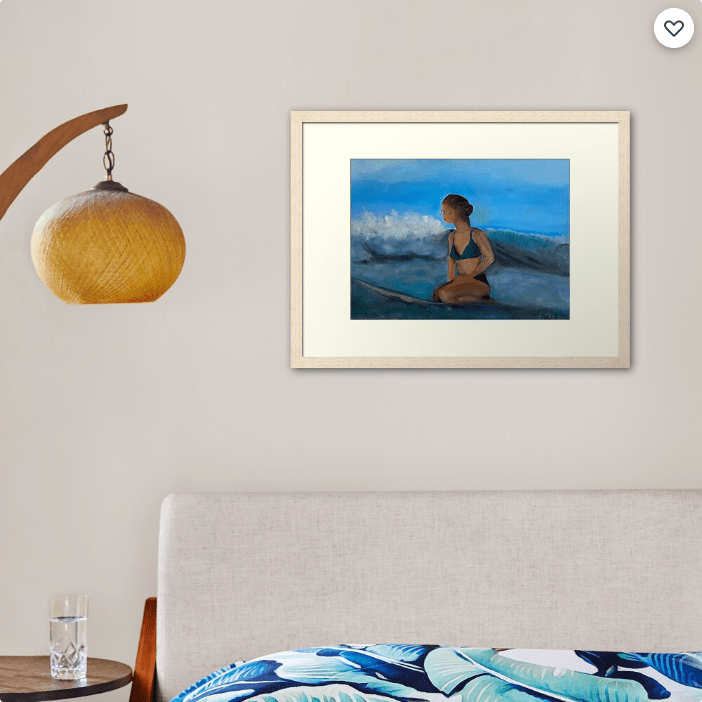 Screenshot 2020 12 04 'Waiting for the Next Wave by Artist Ane ' Framed Print by AneHoward