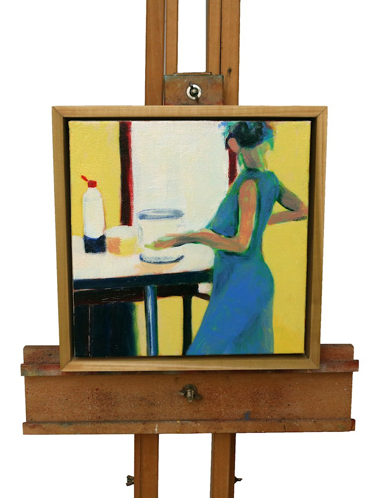 blue dress on easel straight copy