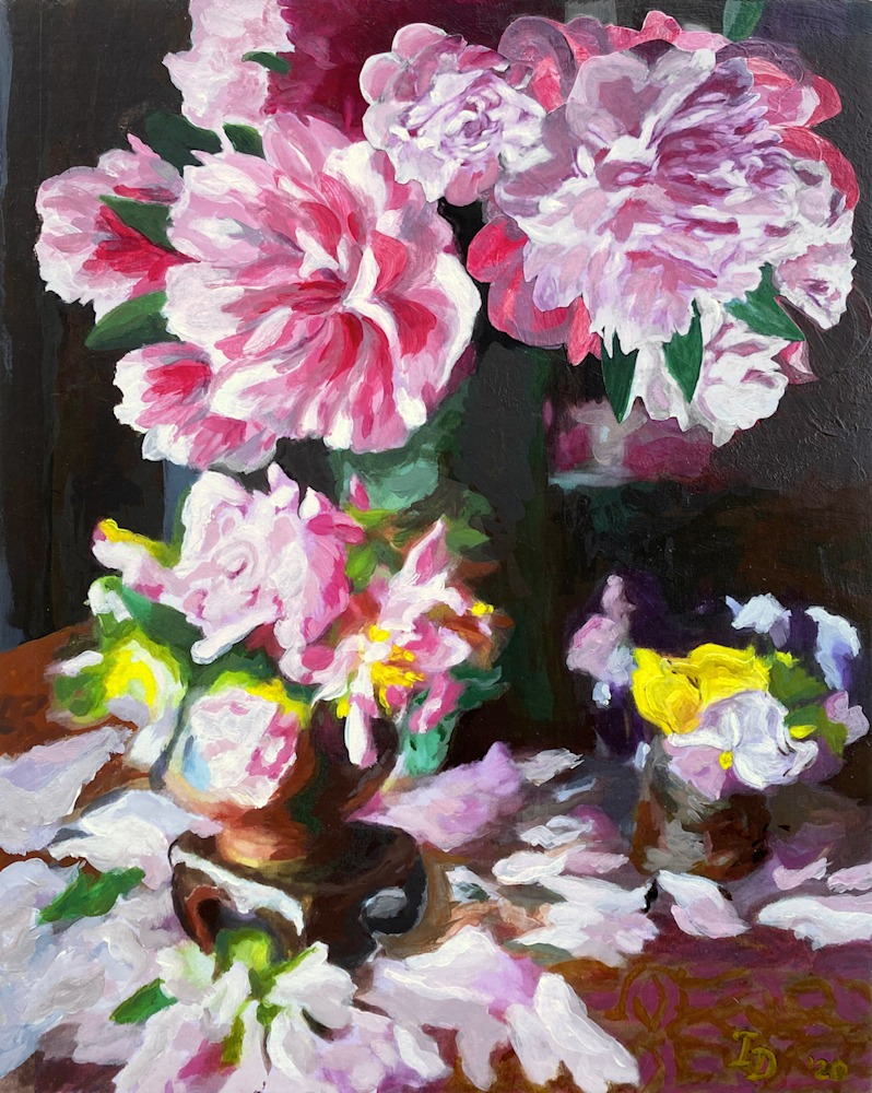 Inna Dzhanibekova 14 Still Life with Peonies and Pansy res