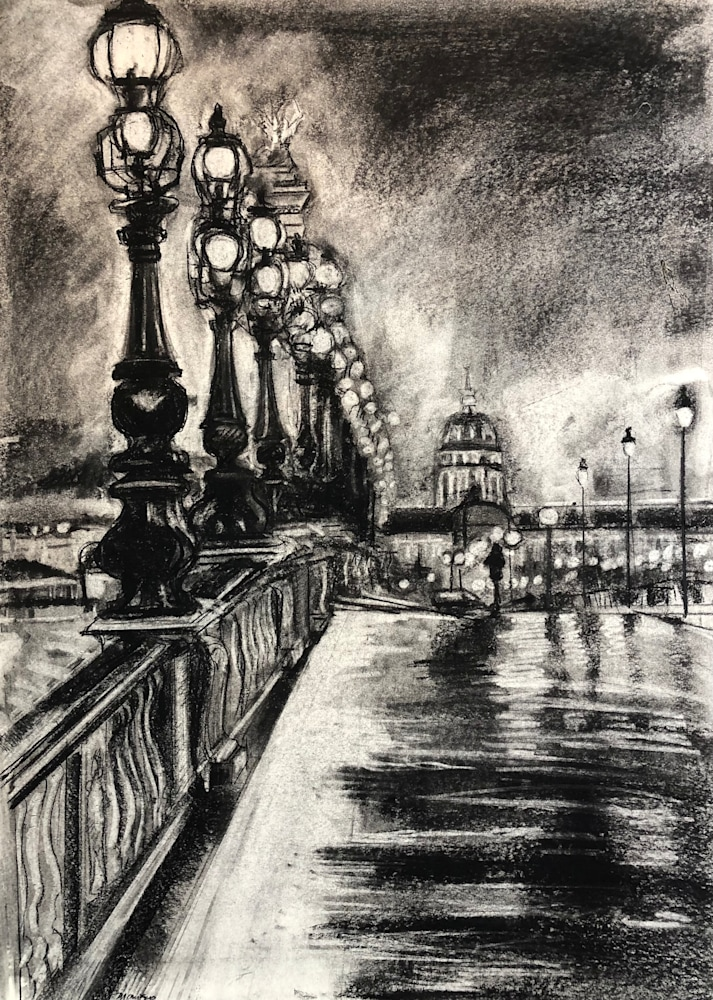 Paris Evening Glow, charcoal on paper, 17x14