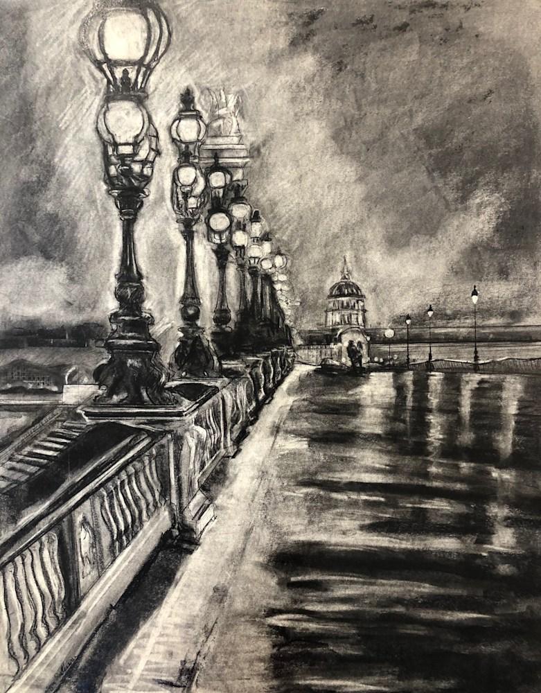 Paris Dream 2,charcoal on paper, 30x24
