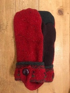 Red and Brown Tweed Mittens
