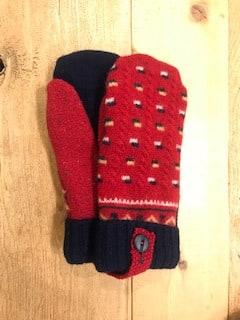Red and Dark Navy Mittens