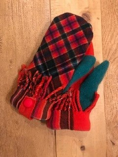 Red and Green Scotch Plaid Mittens with Fringe