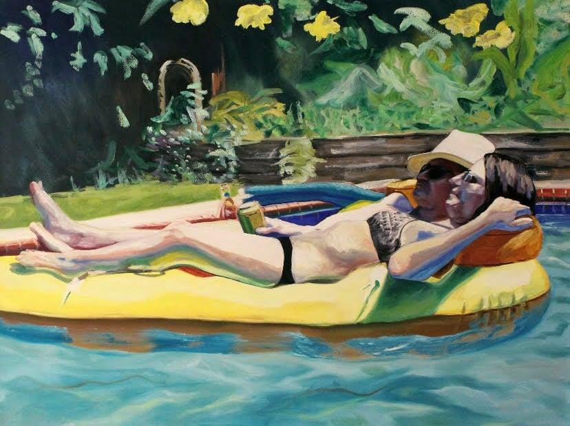 pizza raft painting artist michael serafino wetpaintnyc gallery