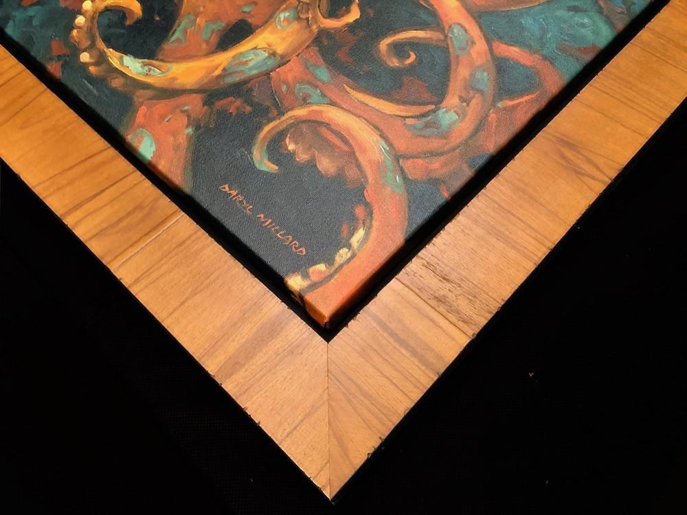 blue ring frame olive wood