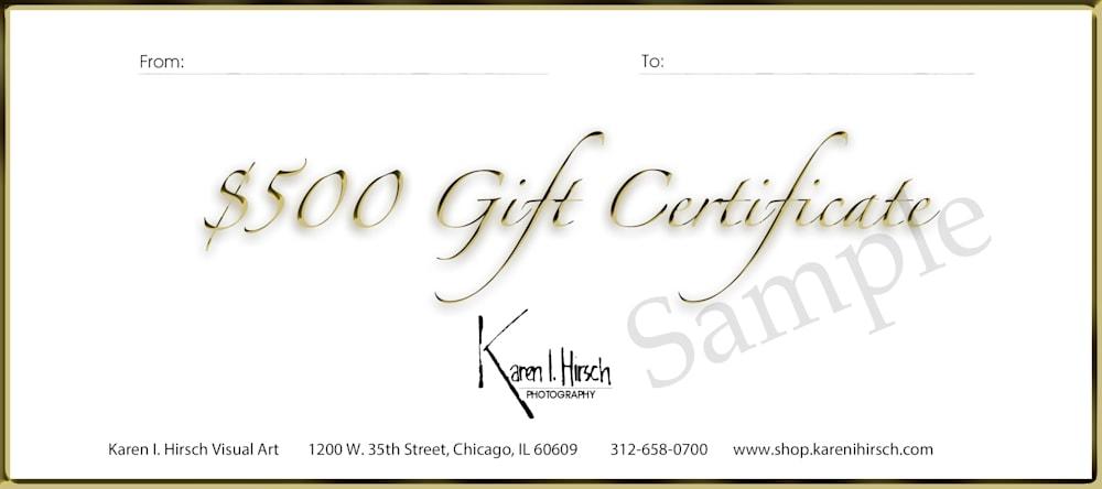 Gift certificate $500 2020 sample