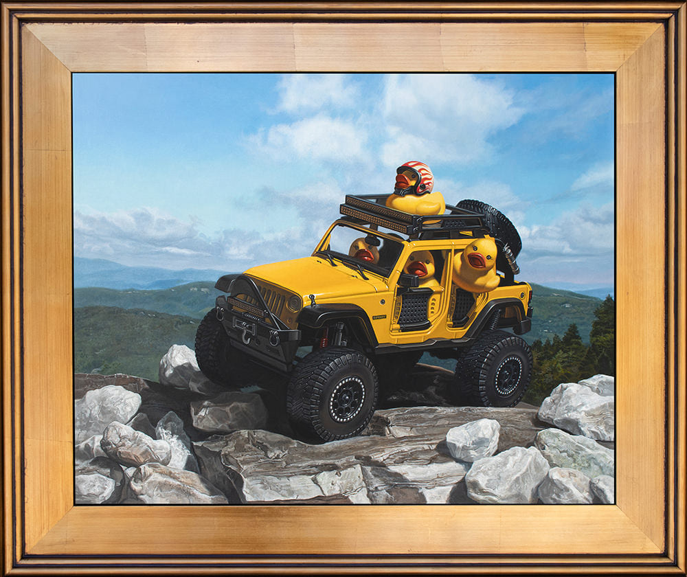 Kevin Grass Keep on Ducking Gold Frame Acrylic on aluminum panel painting