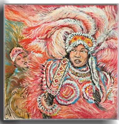 Red Mardi Gras Indian Queen 10x10    in Acrylic Canvas   price 650
