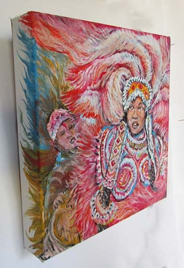 Red Mardi Gras Indian Queen 10x10    in Acrylic Canvas   gallery wrap view