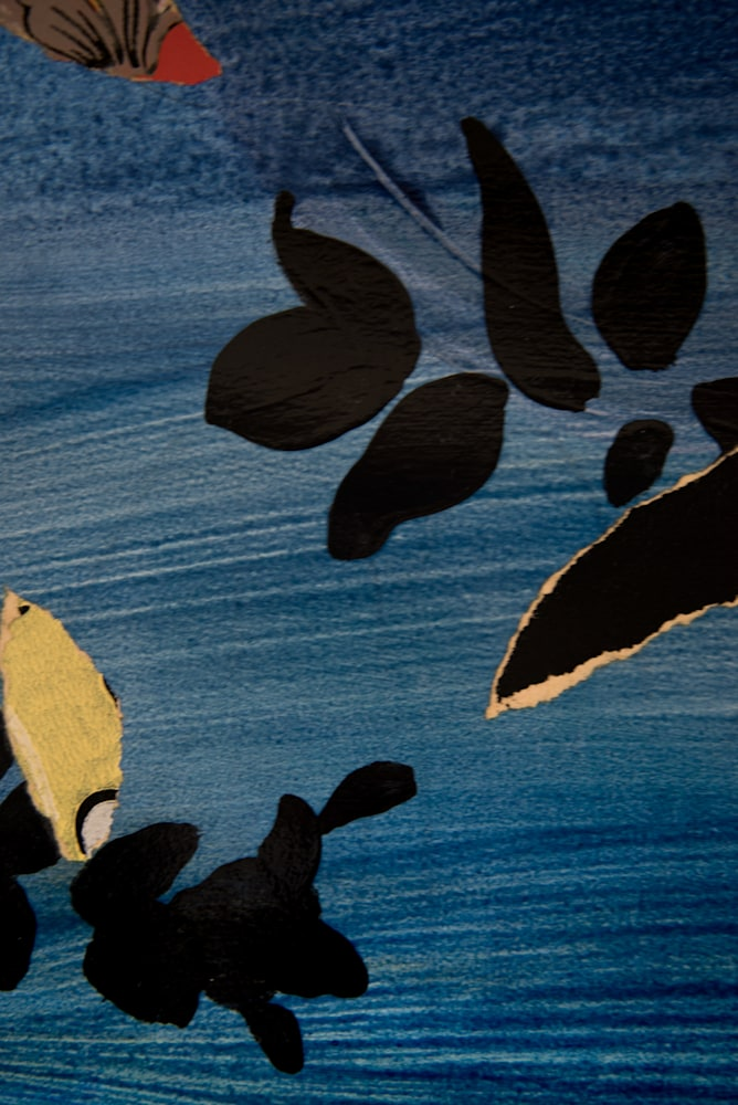 River Farther and Freer and Home 20x27 acrylic, graphic and wallpaper on paper 2021 JAAP Detail 1