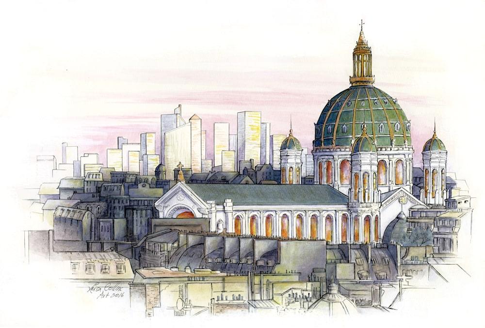 Paris City Scene Old and New   ORIGINAL    Architectural Fusion
