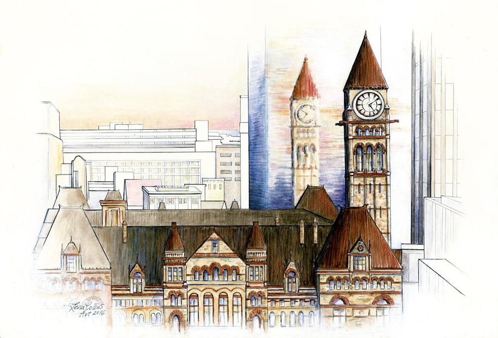 Toronto City Scene Old and New   ORIGINAL   Architectural Fusion