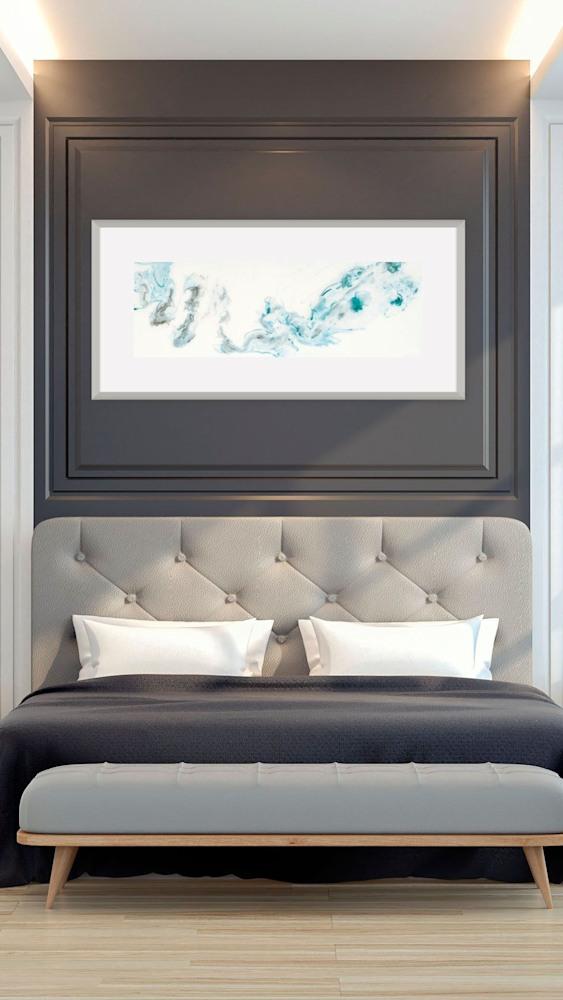 teal x 2 on bedroom wall