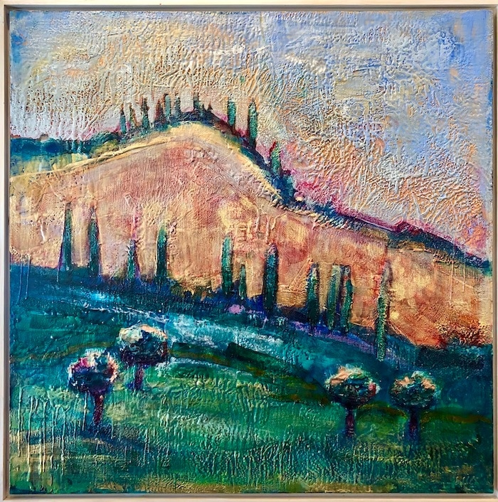 Holy Mountain framed, encaustic wax on wood, 36x36