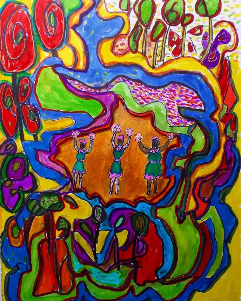 AChampagneChorusGirlsinAbstractlandia9x12$350watercolor