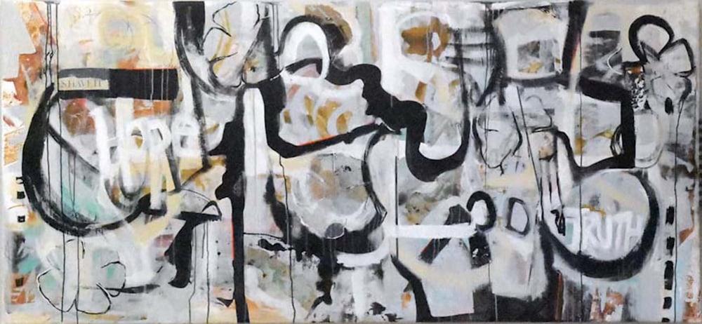 5Mardi de Veuve Alexis Street Art Messages painting on canvas 42 x 90