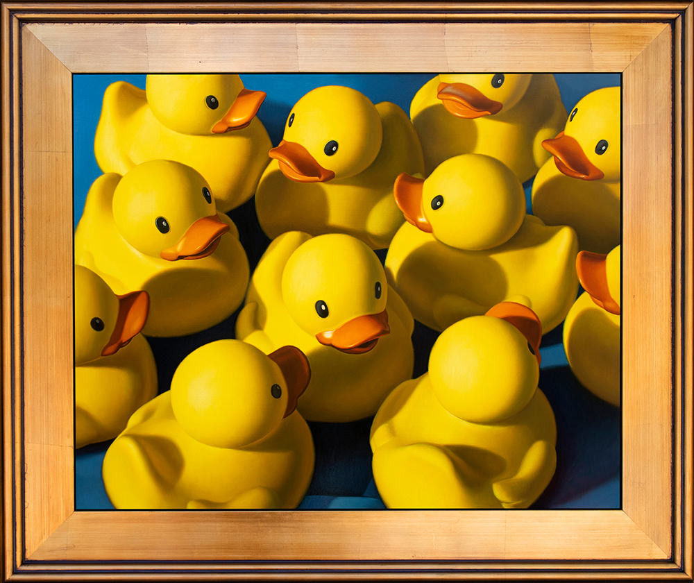 Kevin Grass Clusterduck gold frame Oil and acrylic on aluminum panel painting