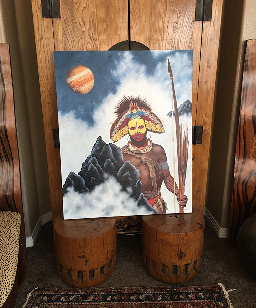 New Guinea Man  in front of cabinent