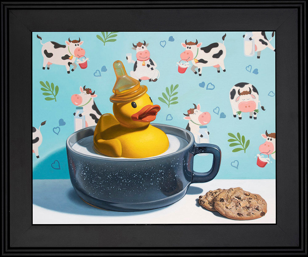 Kevin Grass Milk Duck Black Frame Acrylic on aluminum panel painting