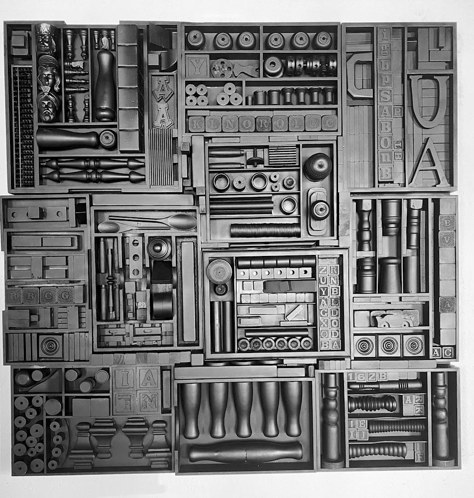 Parallel Narrative Barbara Ziev 48 x 48 Wood Assemblage Matte Black $5500