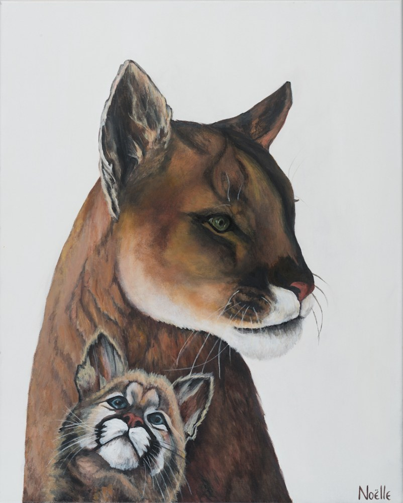 Noelle McCarthy Florida Panther and Cub Acrylic 24x30 $1,000