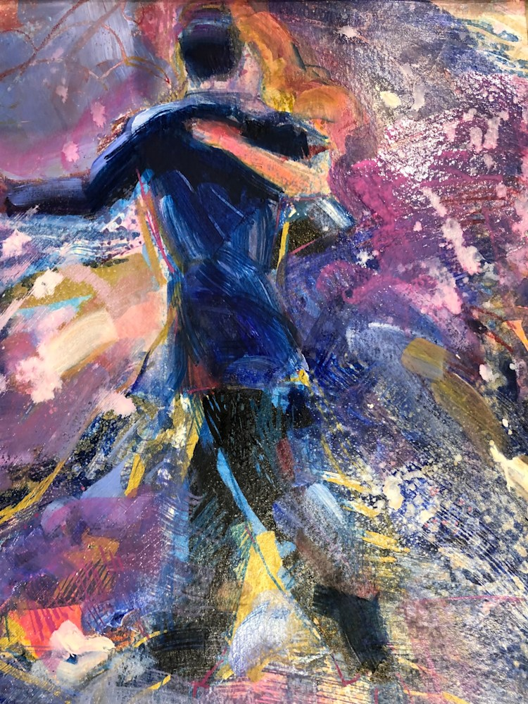 Heaven Dancers 2, oil and mixed media on paper, 12x9