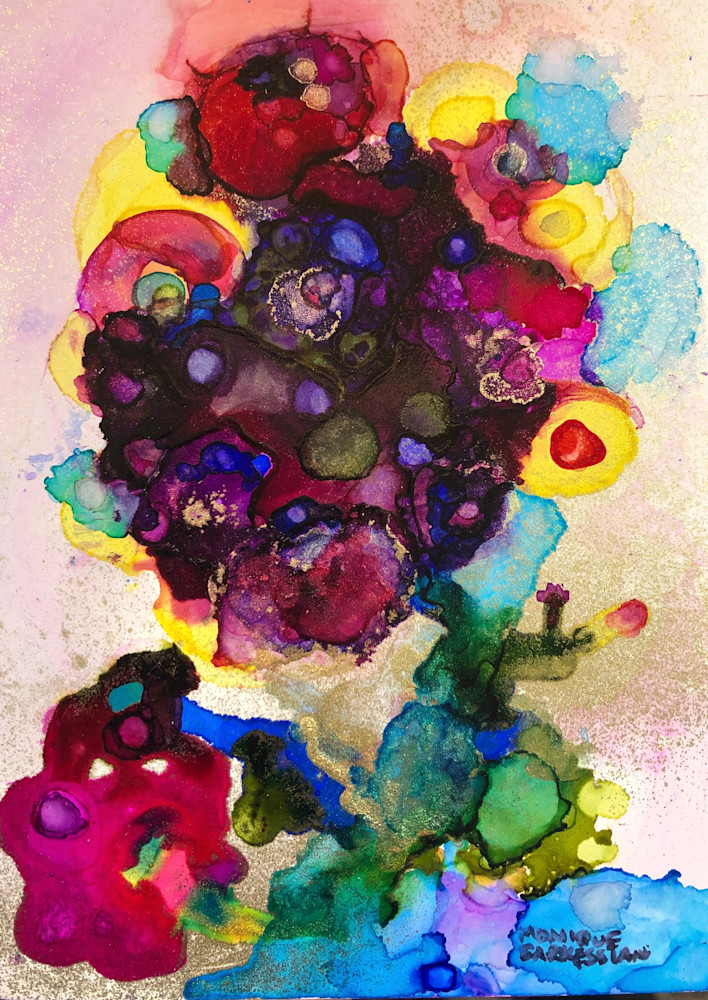 Tree of Life 9, alcohol ink and mixed media on wood, 7x5