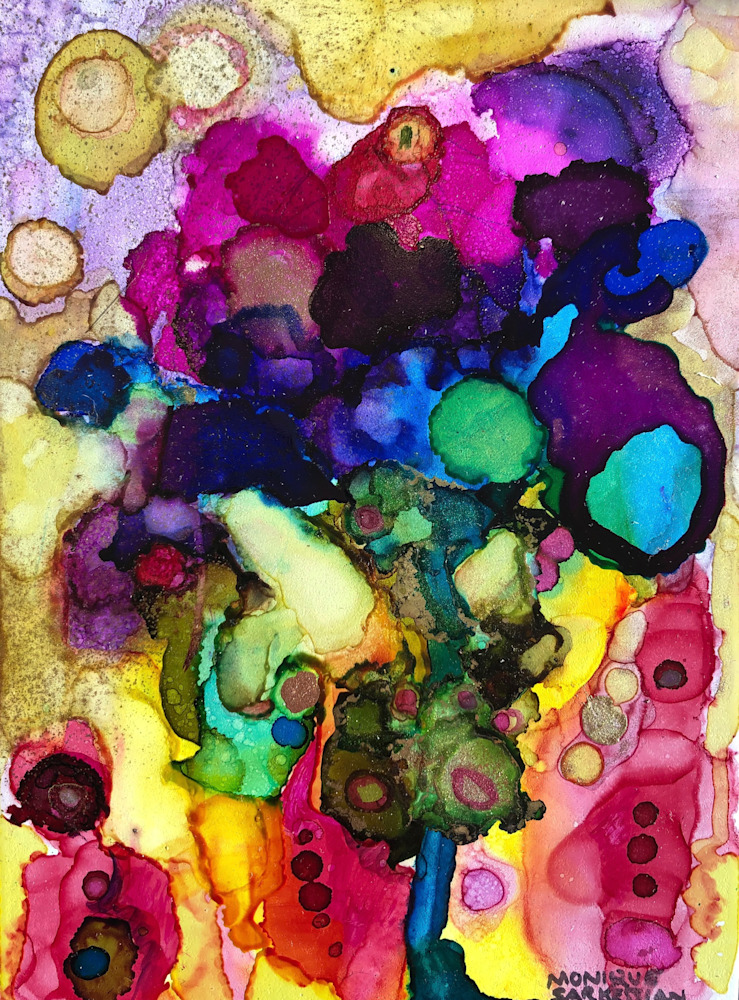 Glory Carriers 21, alcohol ink and mixed media on wood, 7x5