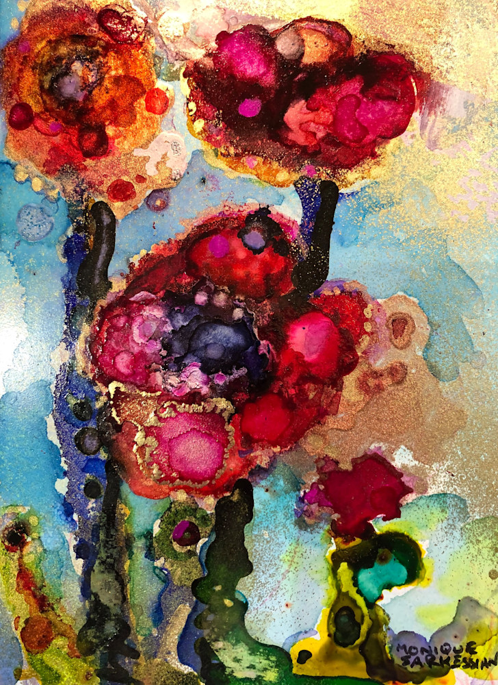Glory Carriers 18, alcohol ink and mixed media on wood, 7x5