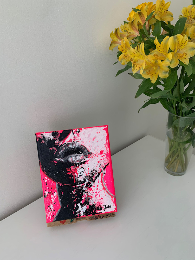 8x10 zabe arts fluo pink acrylic painting display3