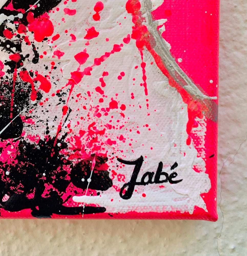 8x10 zabe arts fluo pink acrylic painting signature