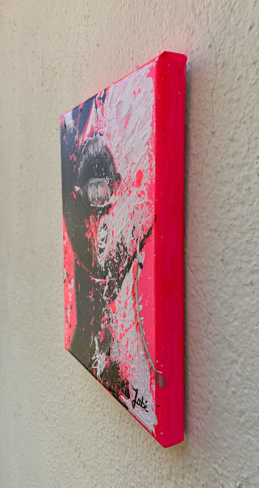 8x10 zabe arts fluo pink acrylic painting tranche droite