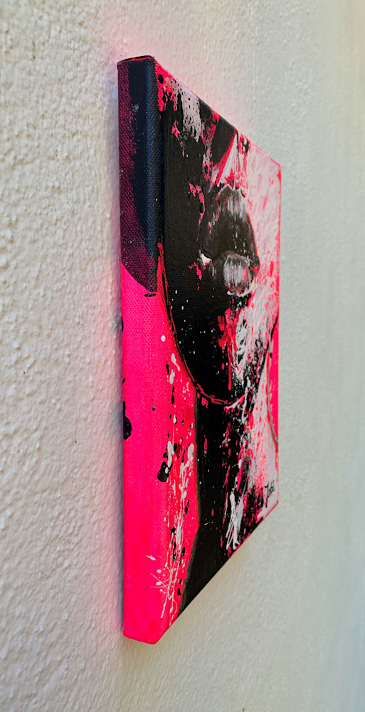 8x10 zabe arts fluo pink acrylic painting tranche gauche