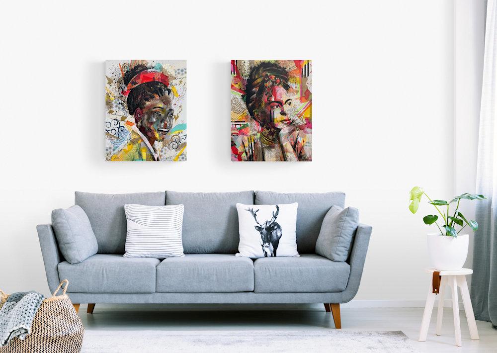 24x30 zabe arts strong women amanda gorman collage painting wall lounge
