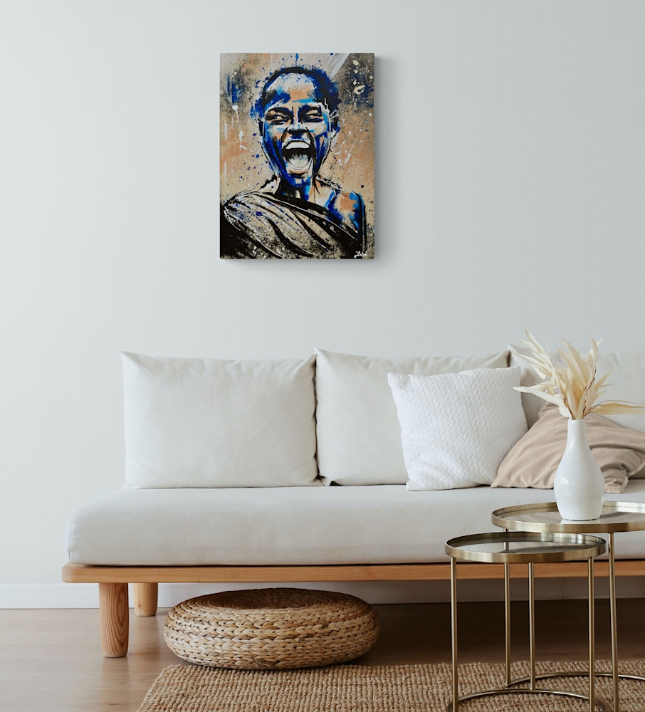 18x24 zabe arts blue acrylic painting wall1