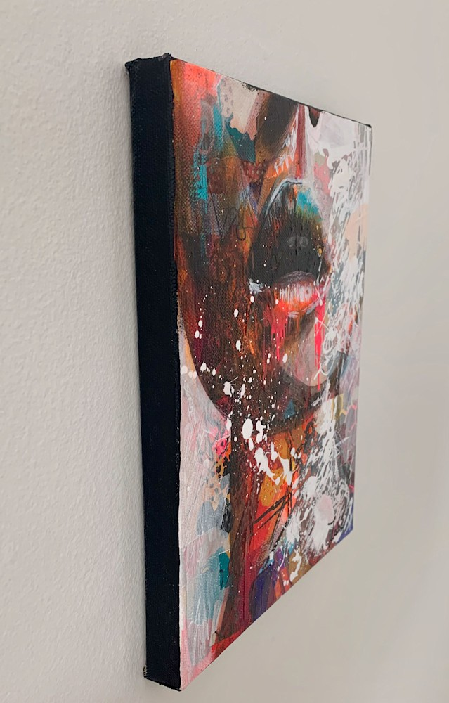 8x10 zabe arts multi colored lips mixed media side